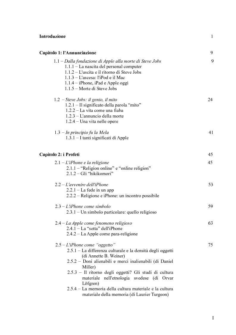 Indice della tesi: L'iPhone come ''oggetto di culto?'' Un approccio multiculturale, Pagina 1