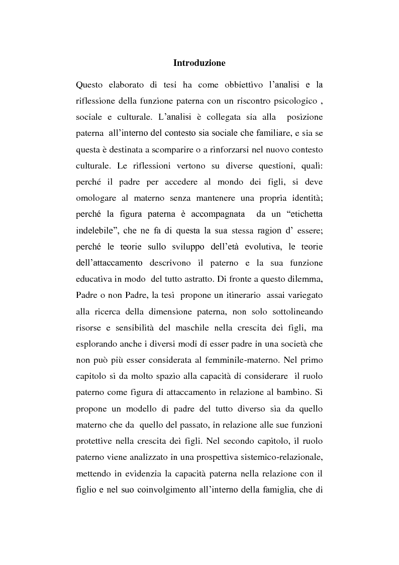 Il ruolo della figura paterna nello sviluppo psicologico del figlio - Tesi di Laurea
