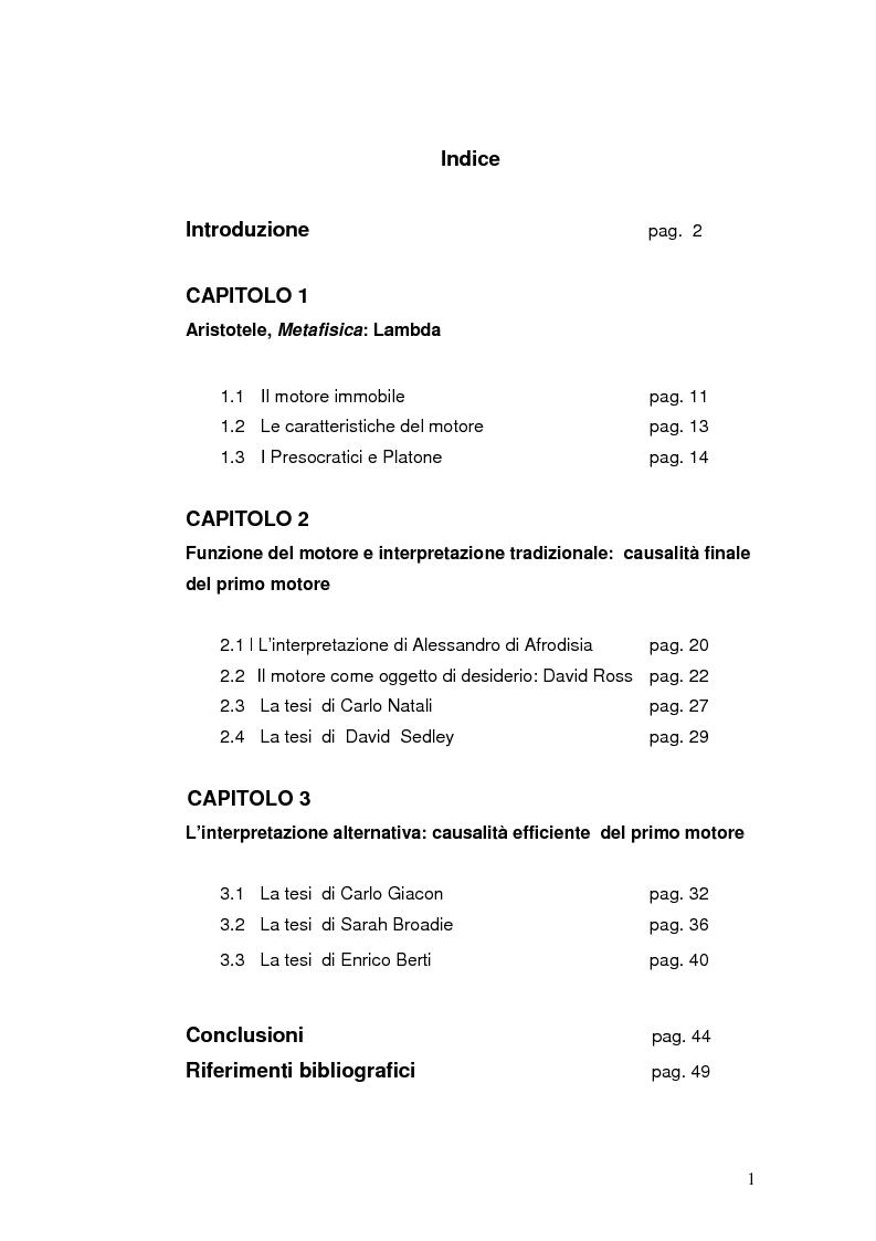 Indice della tesi: Aristotele, libro Lambda della Metafisica: natura e causalità del primo motore immobile, Pagina 1