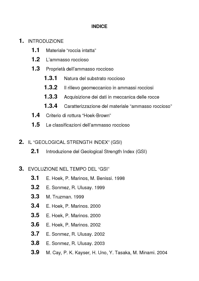 Indice della tesi: La classificazione degli ammassi rocciosi Geological Strength Index (GSI), Pagina 1