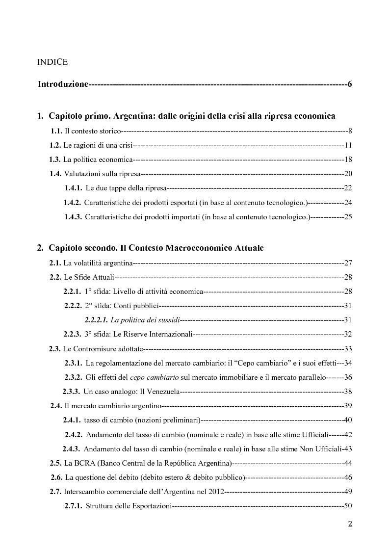 Indice della tesi: Determinanti della stabilità macroeconomica in Argentina: il ruolo della struttura dell'export e del tasso di cambio, Pagina 1