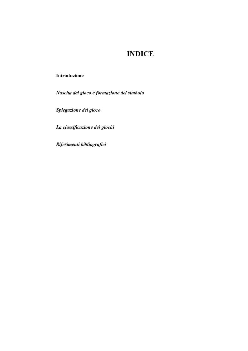 Indice della tesi: Il mondo del gioco per il bambino, Pagina 1