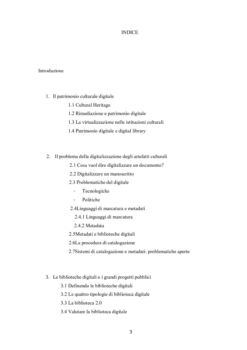 Indice della tesi: Digitalizzazione del patrimonio culturale e biblioteche online, Pagina 1