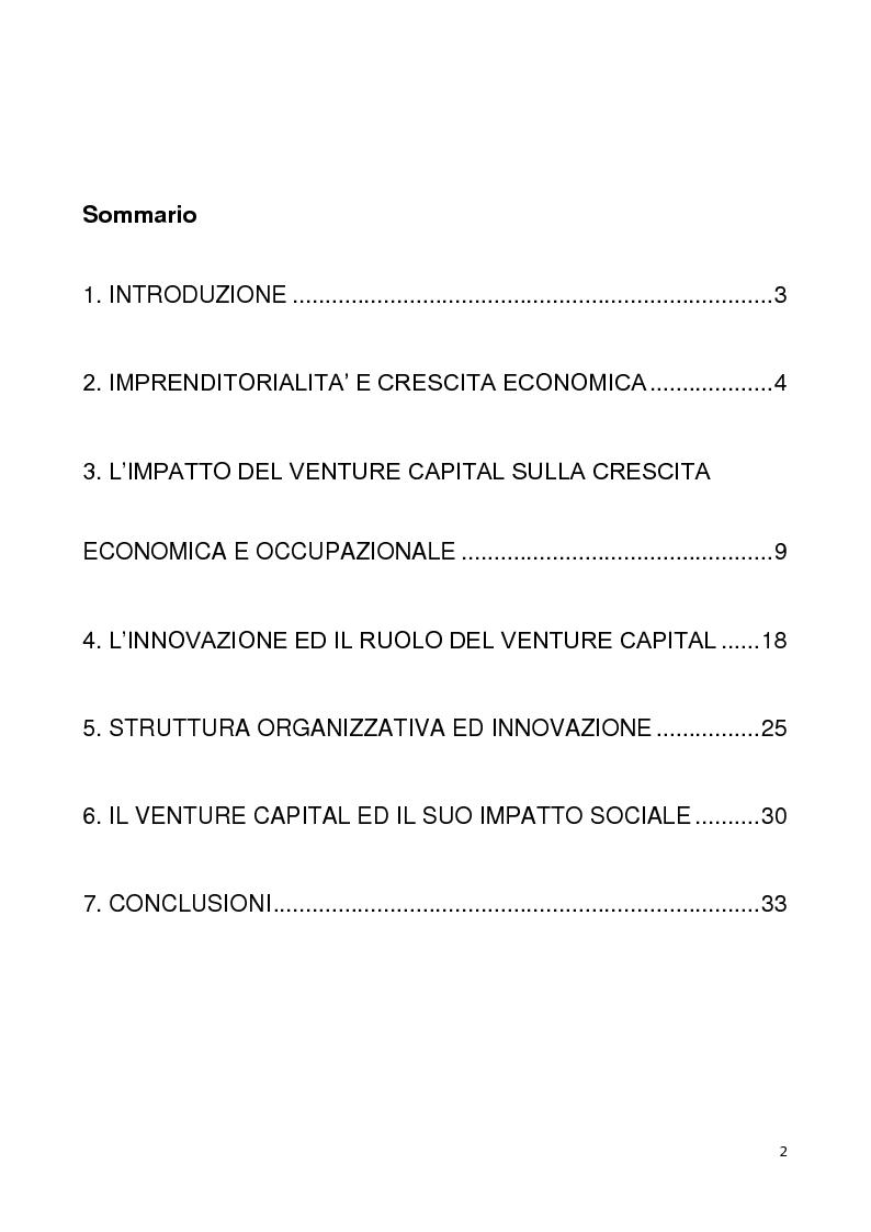 Indice della tesi: Finanziare l'imprenditorialità in Europa: il Venture capital come motore di crescita ed innovazione, Pagina 1