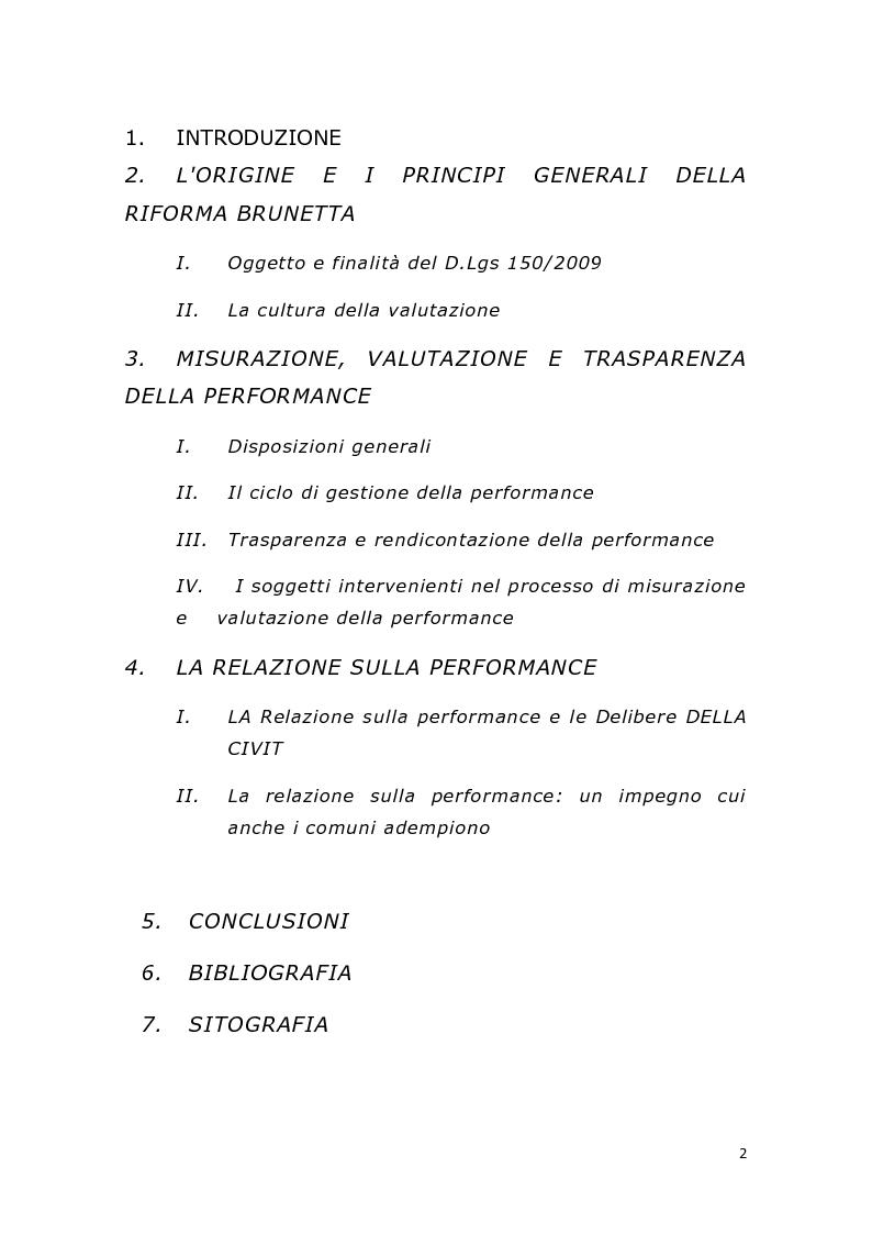 Indice della tesi: La relazione sulla performance. Il diritto del lavoro del pubblico impiego dopo la cd. riforma Brunetta, Pagina 1