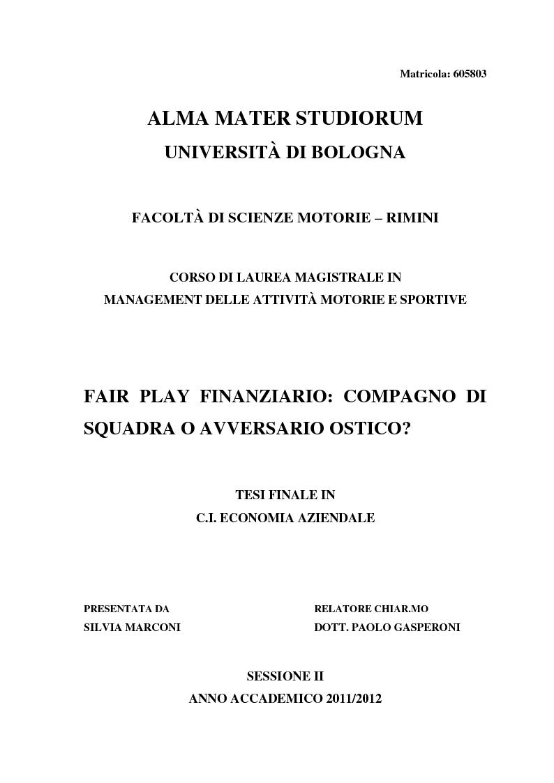 Anteprima della tesi: Fair Play Finanziario: compagno di squadra o avversario ostico?, Pagina 1