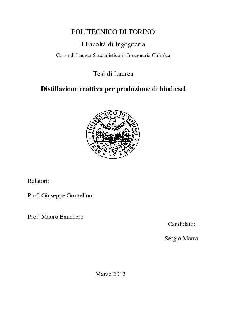 Anteprima della tesi: Distillazione reattiva per produzione di biodiesel, Pagina 1