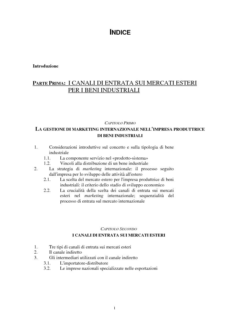 Indice della tesi: I canali di entrata sui mercati esteri per i beni industriali: analisi del caso delle macchine utensili in Italia, Pagina 1