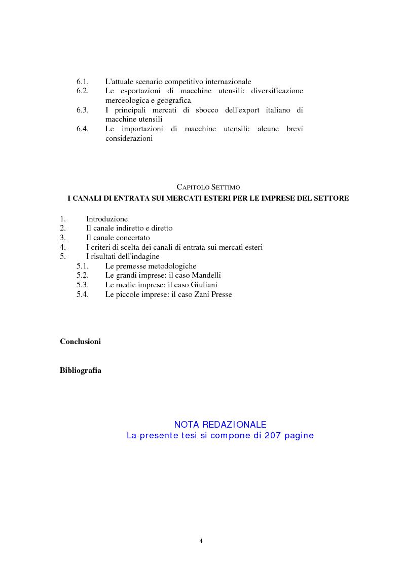 Indice della tesi: I canali di entrata sui mercati esteri per i beni industriali: analisi del caso delle macchine utensili in Italia, Pagina 4