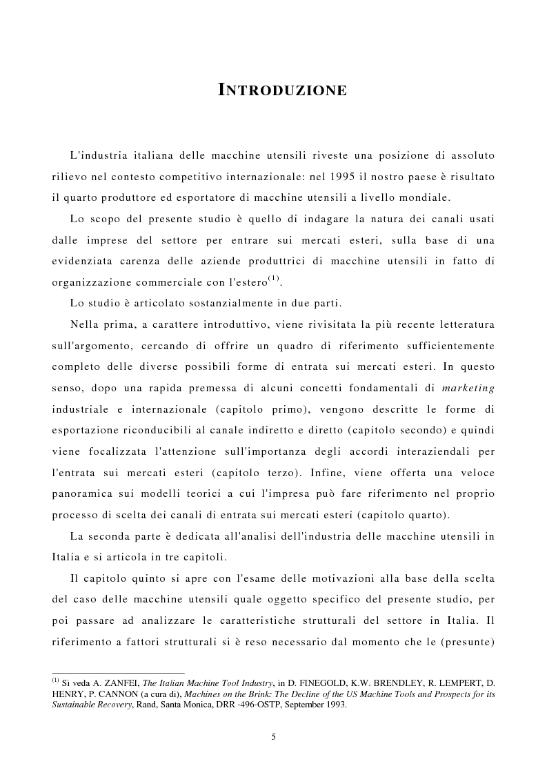 Anteprima della tesi: I canali di entrata sui mercati esteri per i beni industriali: analisi del caso delle macchine utensili in Italia, Pagina 1