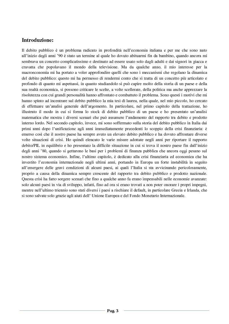 Il debito pubblico in Italia: dall'unificazione alla crisi dei debiti sovrani - Tesi di Laurea
