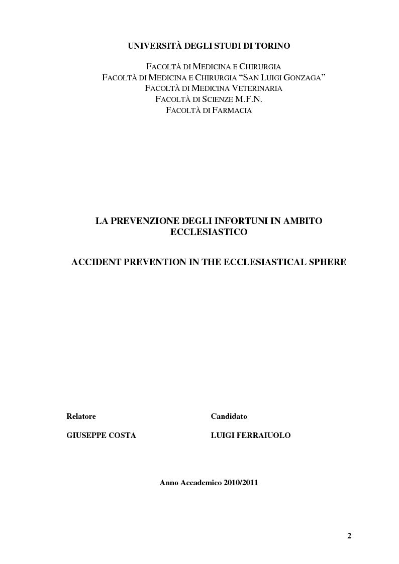 Anteprima della tesi: La Prevenzione degli Infortuni in Ambito Ecclesiastico, Pagina 1