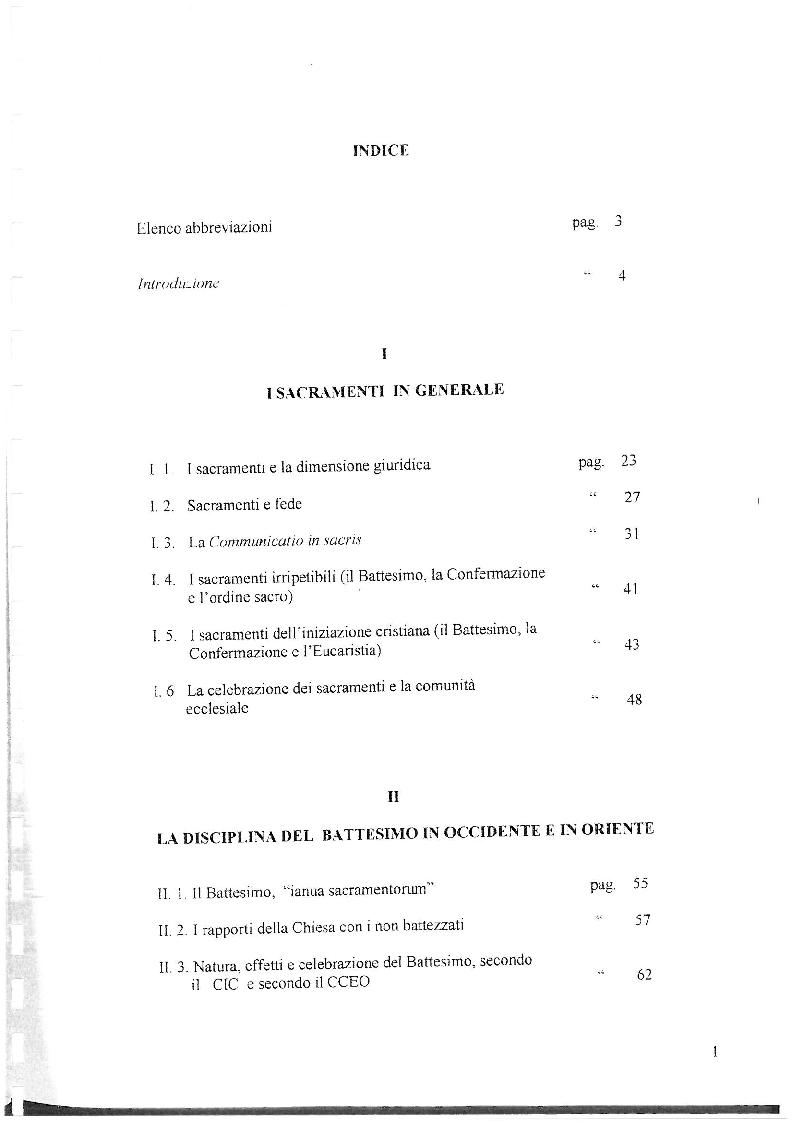 Indice della tesi: La disciplina canonica del Battesimo nel Codice latino e nel Codice orientale, Pagina 1