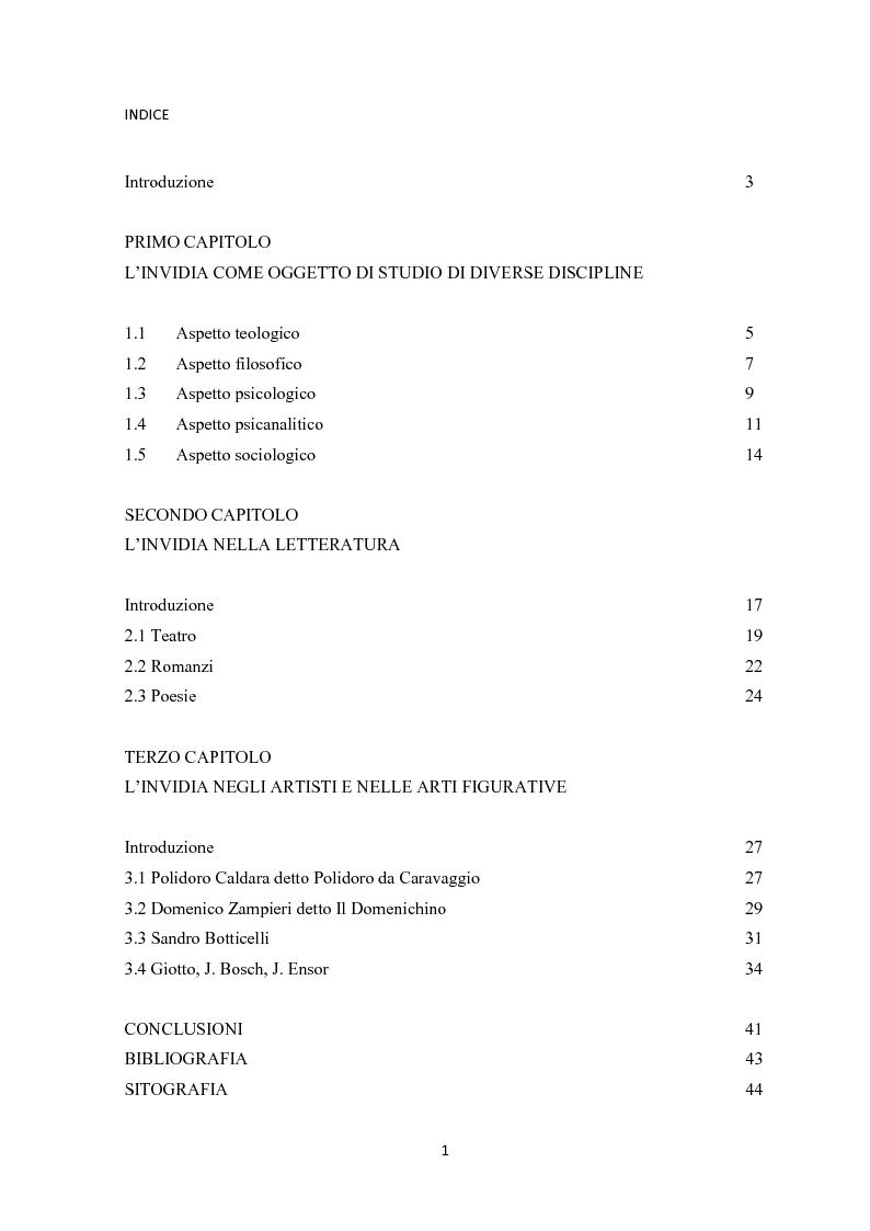 Indice della tesi: L'invidia nelle rappresentazioni artistiche, letterarie e religiose, Pagina 1