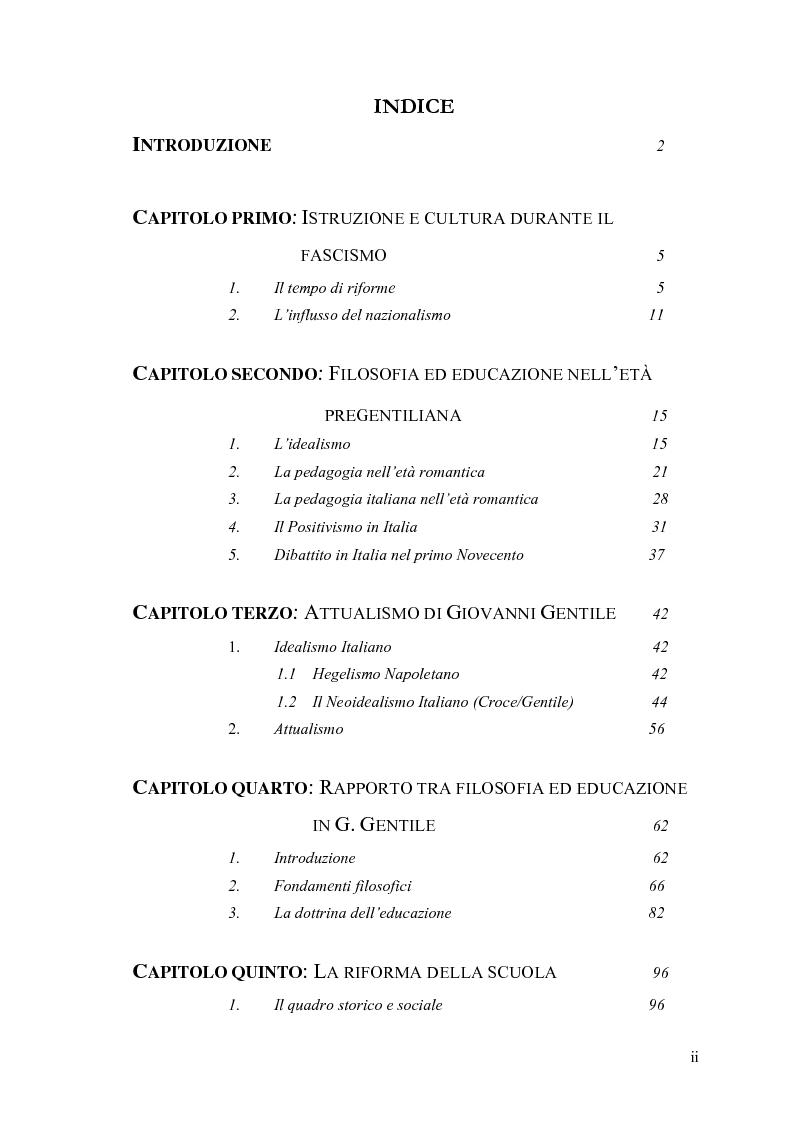 Indice della tesi: Rapporto tra filosofia ed educazione nell'attualismo gentiliano, Pagina 1