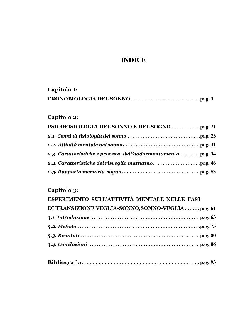 Indice della tesi: Attivazione mnestica nelle fasi di passaggio veglia-sonno, sonno-veglia, Pagina 1