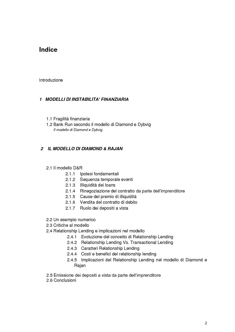 Indice della tesi: Fragilità finanziaria e rischio sistemico: il modello di Diamond & Rajan, Pagina 1
