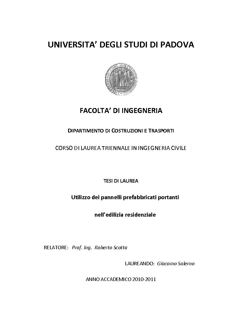 Anteprima della tesi: Utilizzo dei pannelli prefabbricati portanti nell'edilizia residenziale, Pagina 1