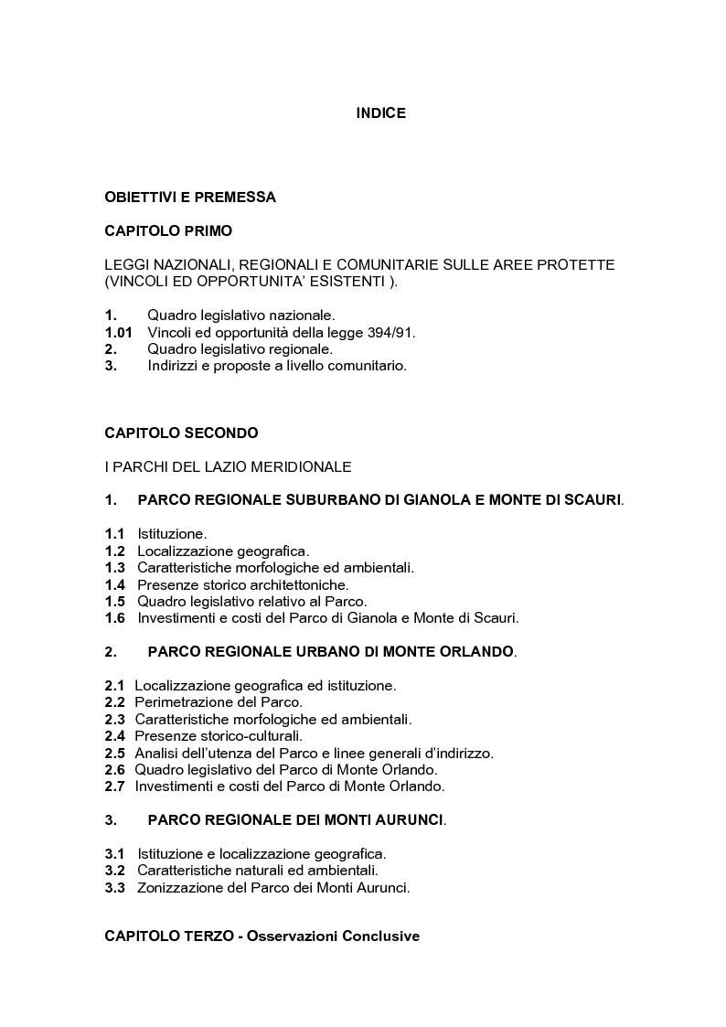 Indice della tesi: Un sistema di parchi come sviluppo socio-economico di un territorio., Pagina 1