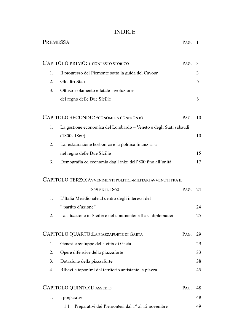Indice della tesi: Artiglierie a confronto: Piemontesi e Napoletani a Gaeta, Pagina 1