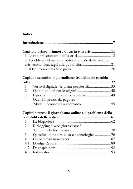 Indice della tesi: Oltre la crisi della carta stampata: analisi e strategie , Pagina 1
