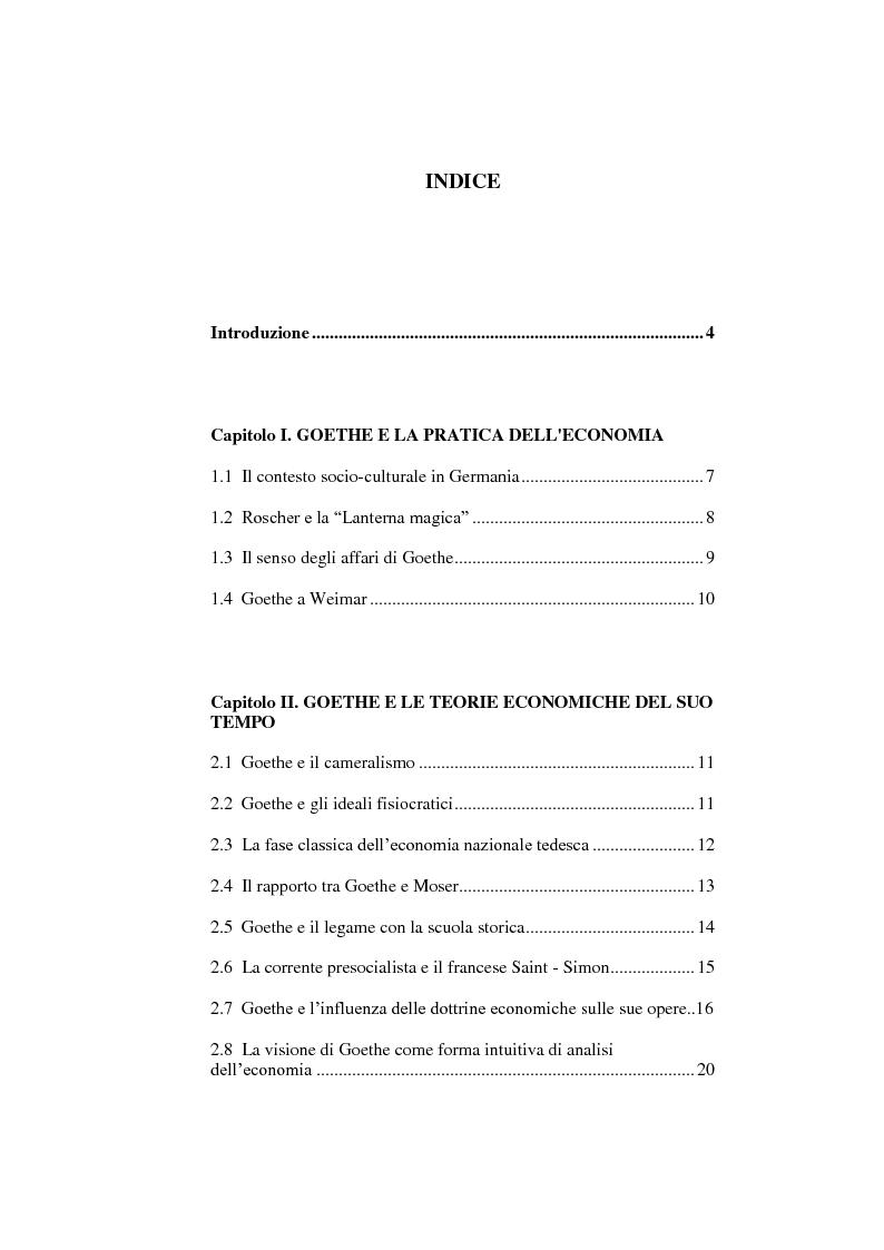 Indice della tesi: Goethe e l'economia, Pagina 1