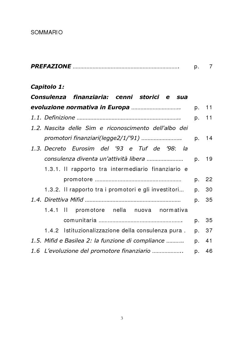 Indice della tesi: Promotore finanziario o Consulente fee only? Una possibile risposta la offre Fineco Bank, Pagina 1