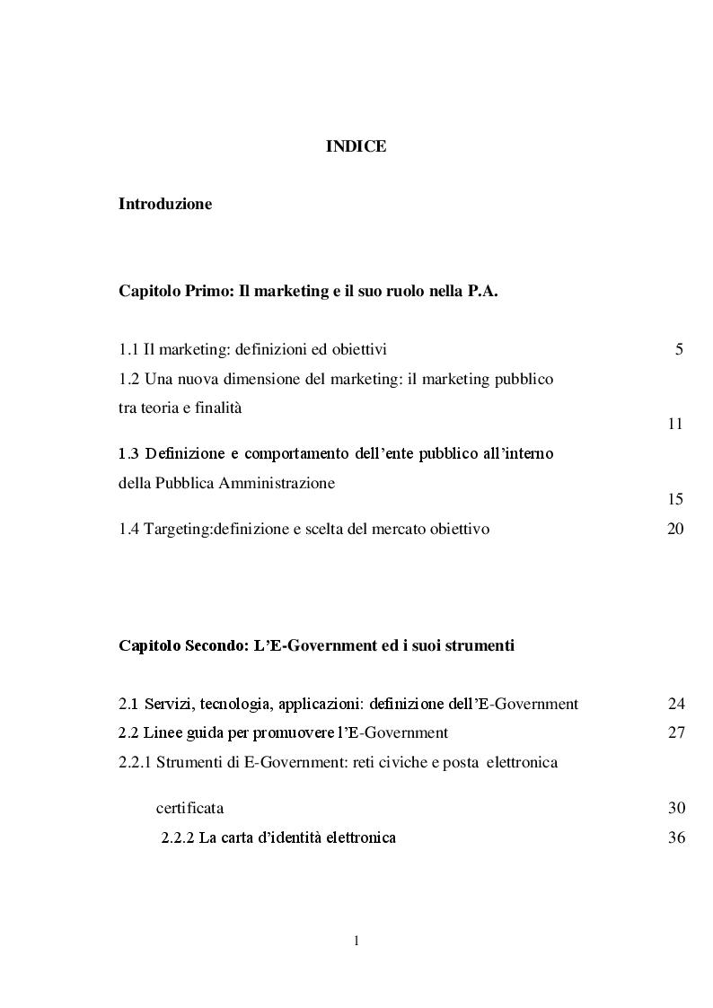Indice della tesi: Il marketing pubblico: il piano strategico del Comune di Catanzaro, Pagina 1