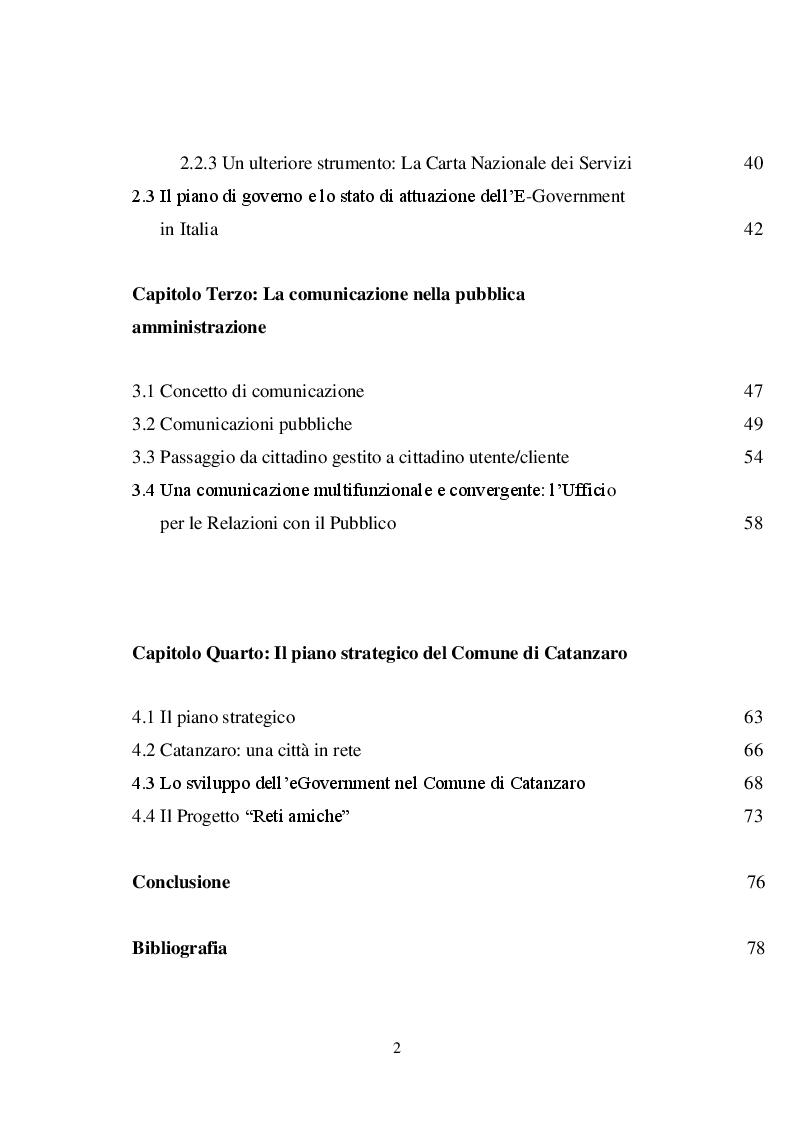 Indice della tesi: Il marketing pubblico: il piano strategico del Comune di Catanzaro, Pagina 2