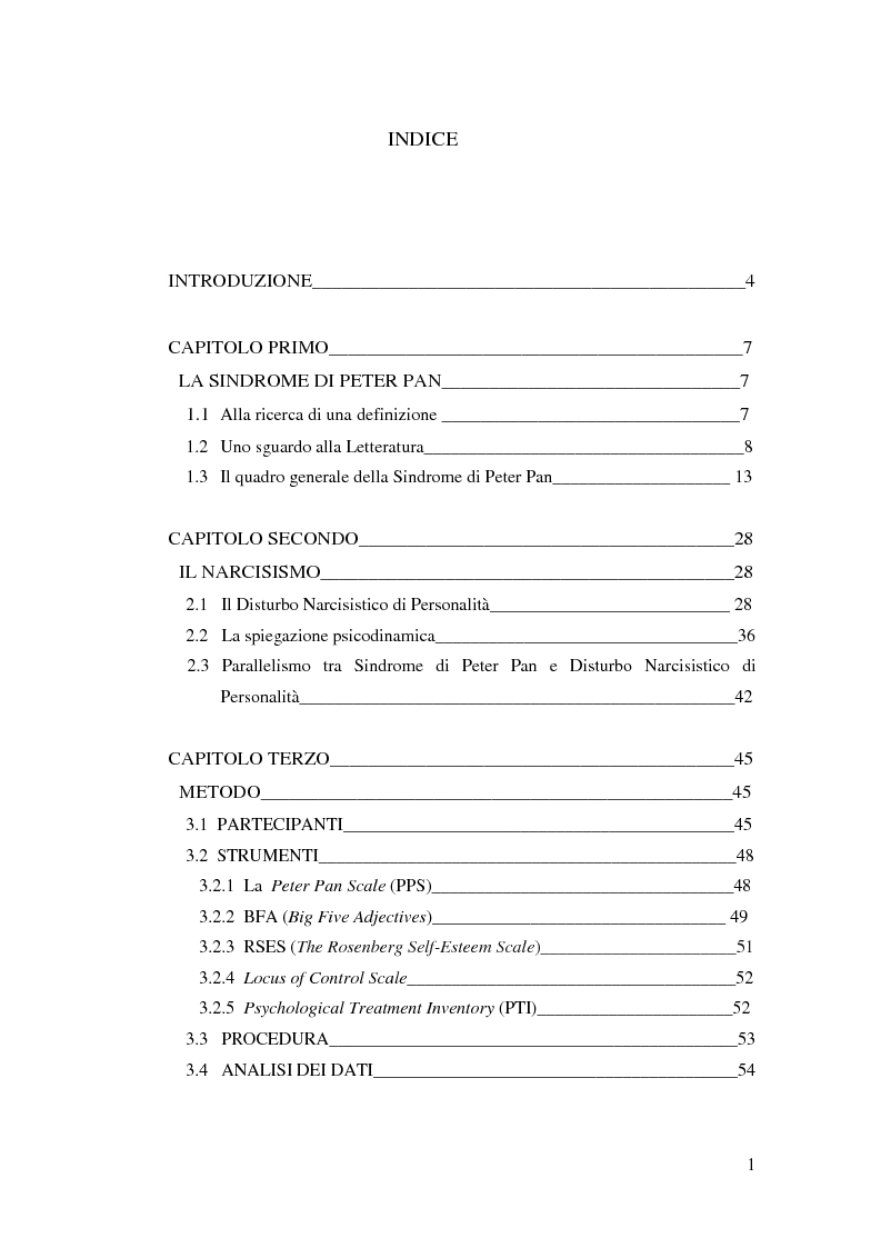 Indice della tesi: La sindrome di Pete Pan ed il Disturbo Narcisistico di Personalità - Proprietà Psicometriche della Peter Pan Scale (PPS), Pagina 1