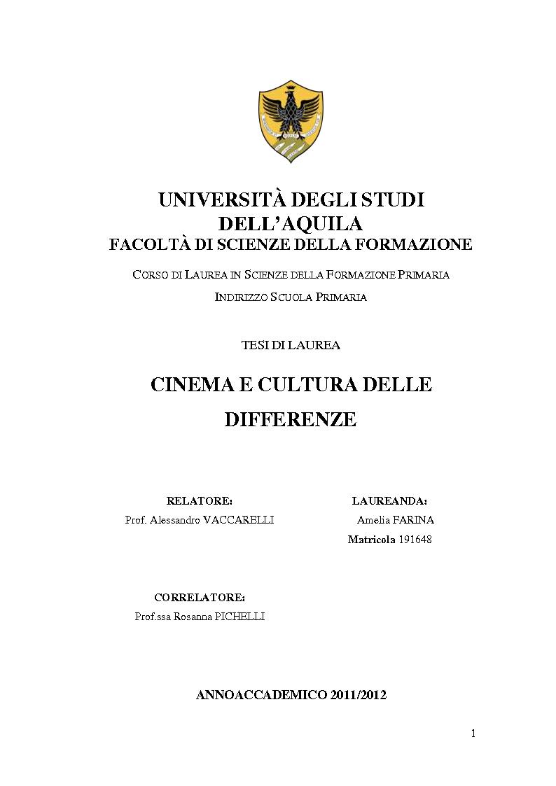 Anteprima della tesi: Cinema e cultura delle differenze, Pagina 1