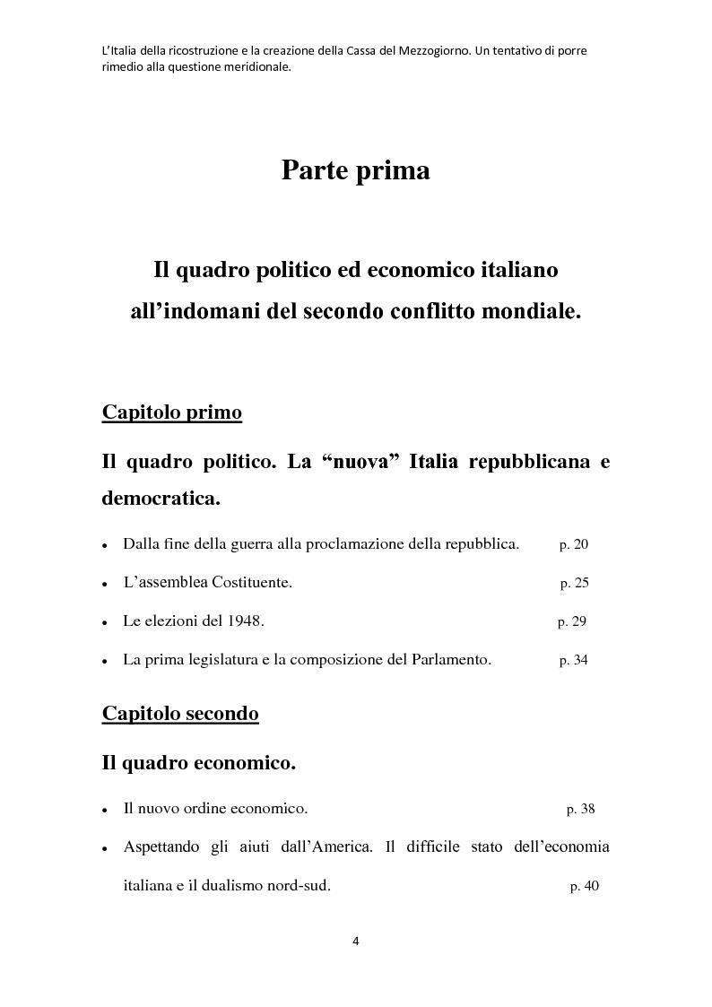 Indice della tesi: L'Italia della ricostruzione e la creazione della Cassa del Mezzogiorno. Un tentativo di porre rimedio alla questione meridionale., Pagina 1