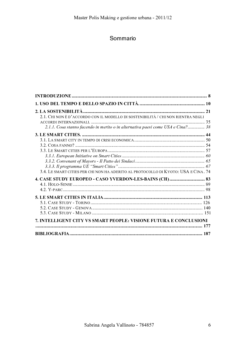 Indice della tesi: Intelligent City vs. Smart People, Pagina 1