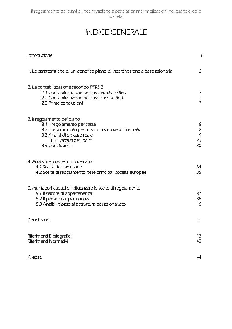 Indice della tesi: Il regolamento dei piani di incentivazione a base azionaria: implicazioni nel bilancio delle società, Pagina 1