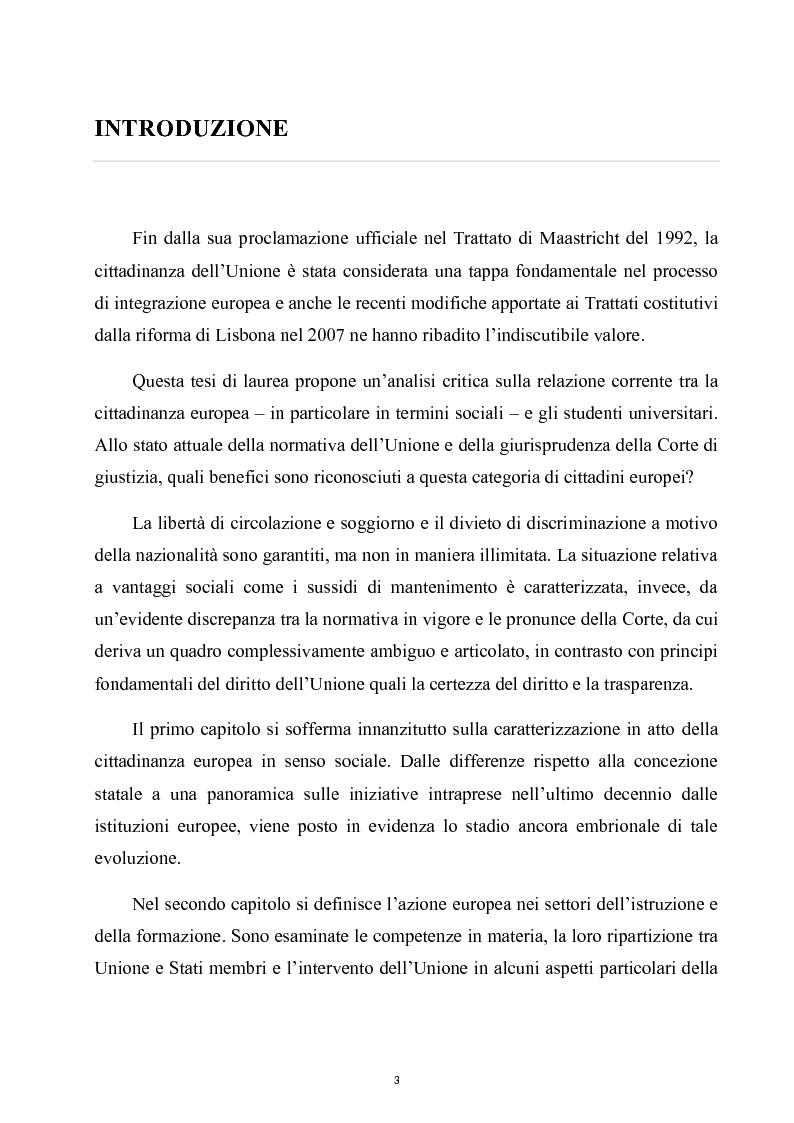 Cittadinanza sociale europea e mobilità studentesca - Tesi di Laurea