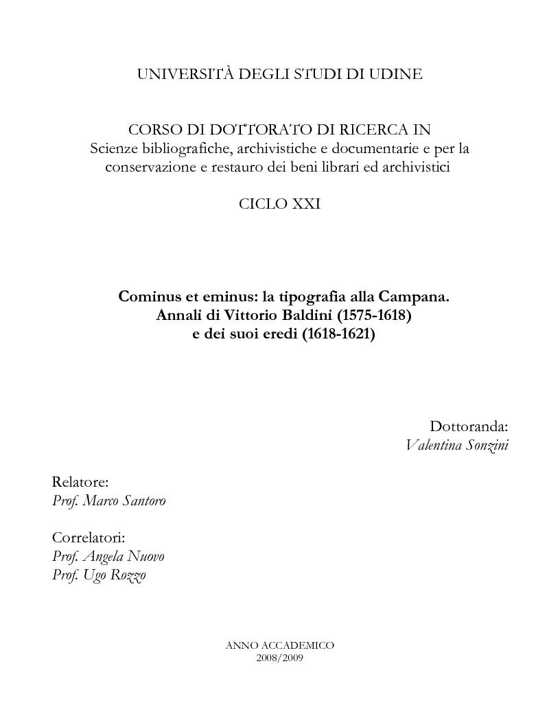 Anteprima della tesi: Cominus et eminus: la tipografia alla Campana. Annali di Vittorio Baldini (1575-1618) e dei suoi eredi (1618-1621), Pagina 1