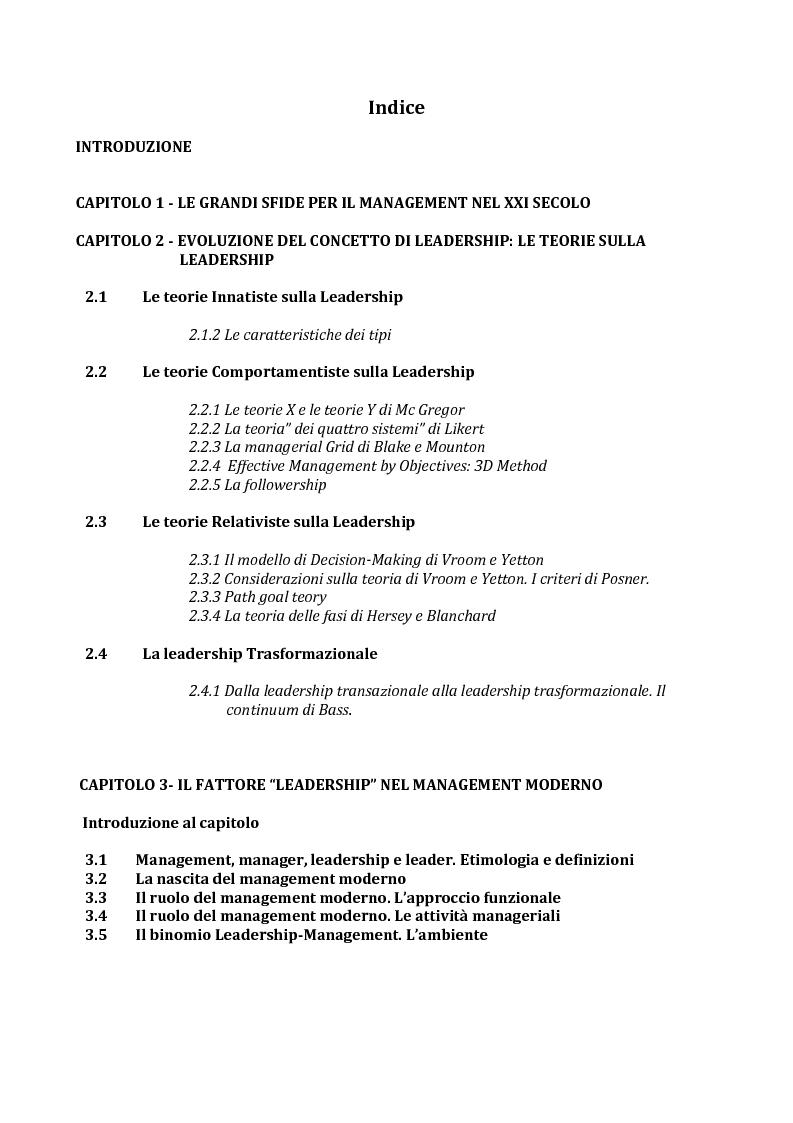 Indice della tesi: Il ruolo della leadership nel management moderno e le metodologie di formazione della leadership, Pagina 1