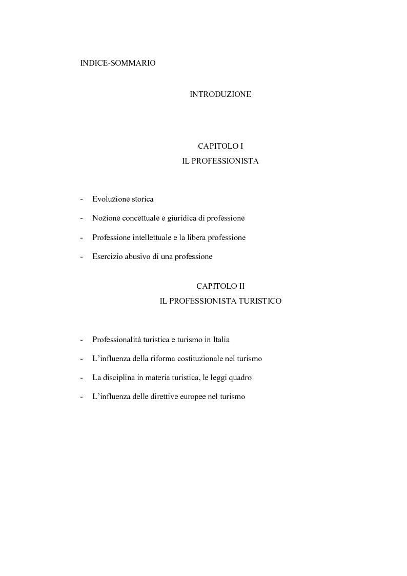 Indice della tesi: L'evoluzione della figura del professionista nel turismo, con particolare riguardo alla figura del promoter turistico, Pagina 1