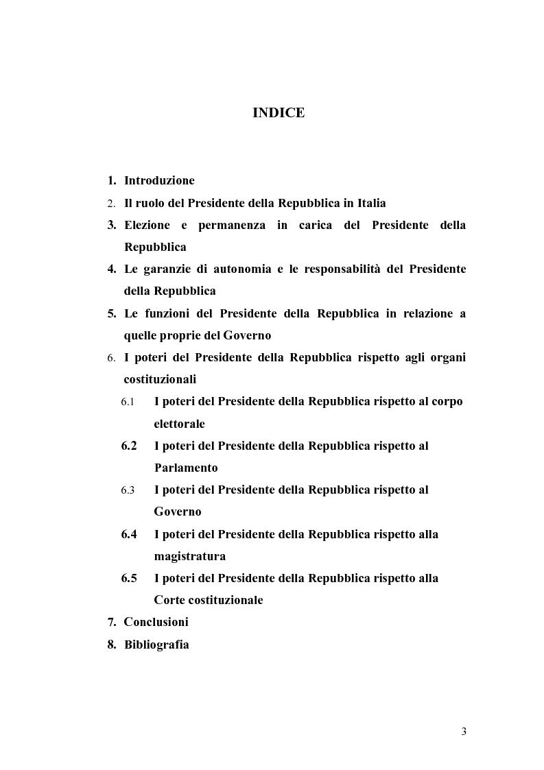 Indice della tesi: Il presidente della repubblica, Pagina 1