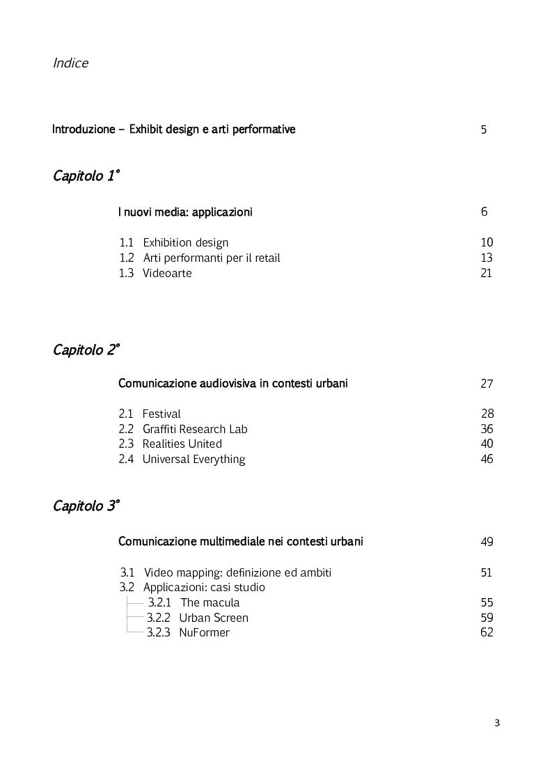 Indice della tesi: Il video mapping - nuovi strumenti per l'exhibit design, Pagina 1