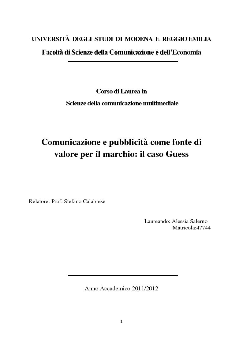 Anteprima della tesi: Comunicazione e pubblicità come fonte di valore per il marchio: il caso Guess, Pagina 1