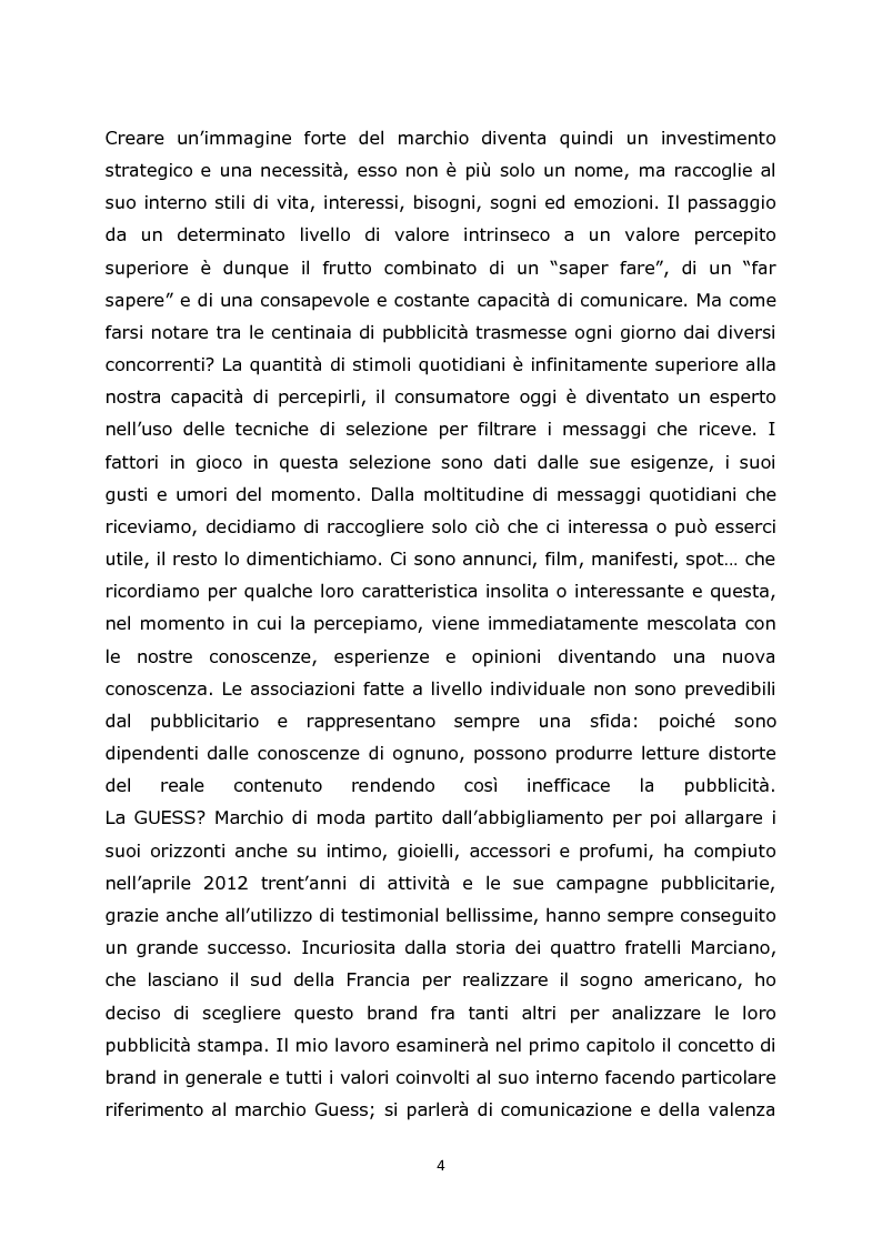 Anteprima della tesi: Comunicazione e pubblicità come fonte di valore per il marchio: il caso Guess, Pagina 3