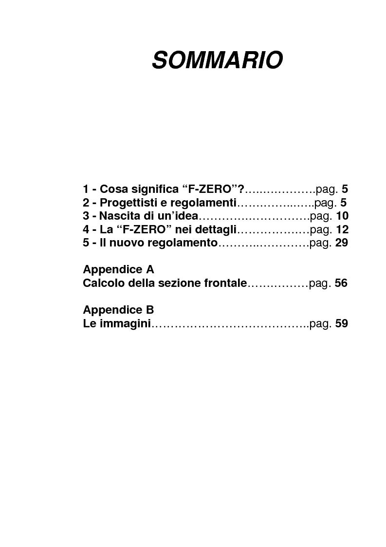 Indice della tesi: Progetto ''Formula 1 - Anno Zero'', Pagina 1