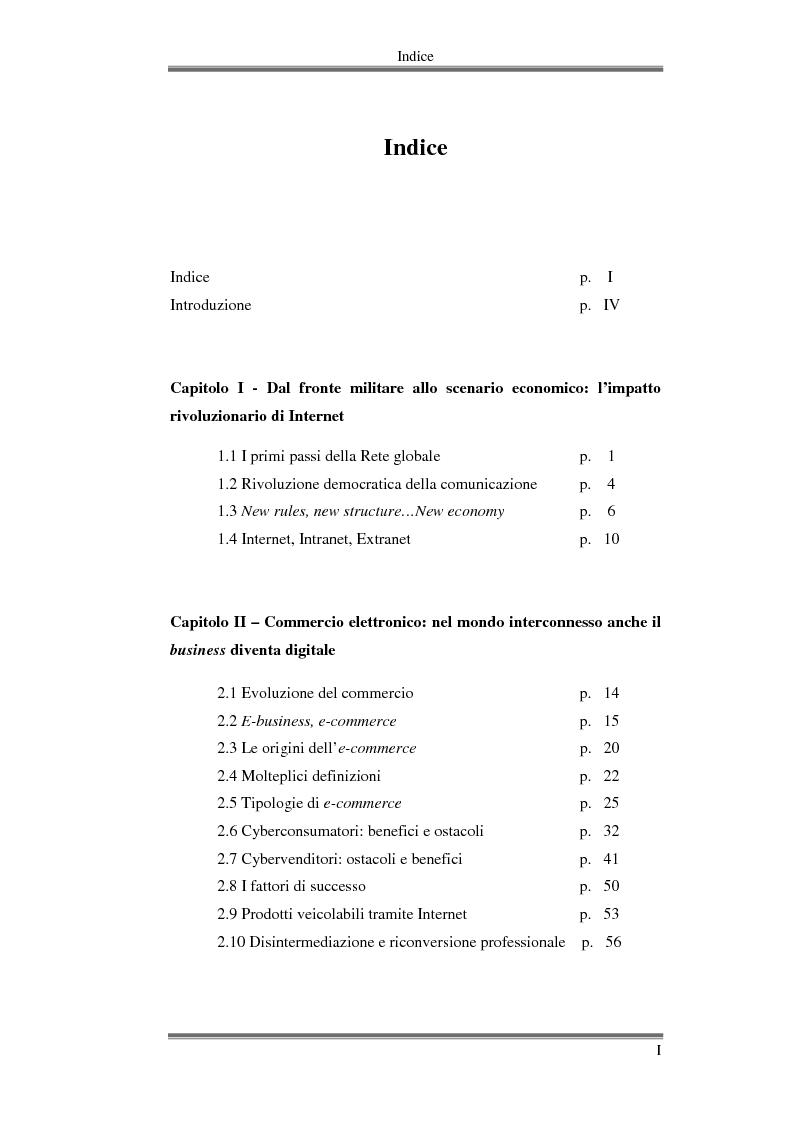 Indice della tesi: Imprese online: opportunità e limiti dell'e-commerce. Il ruolo del digital divide., Pagina 1