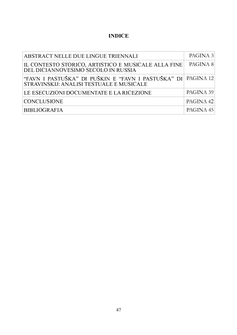 Indice della tesi: Favn' i pastuska Ovvero, dell'ascoltare Stravinskij, e del leggere Puskin, Pagina 1