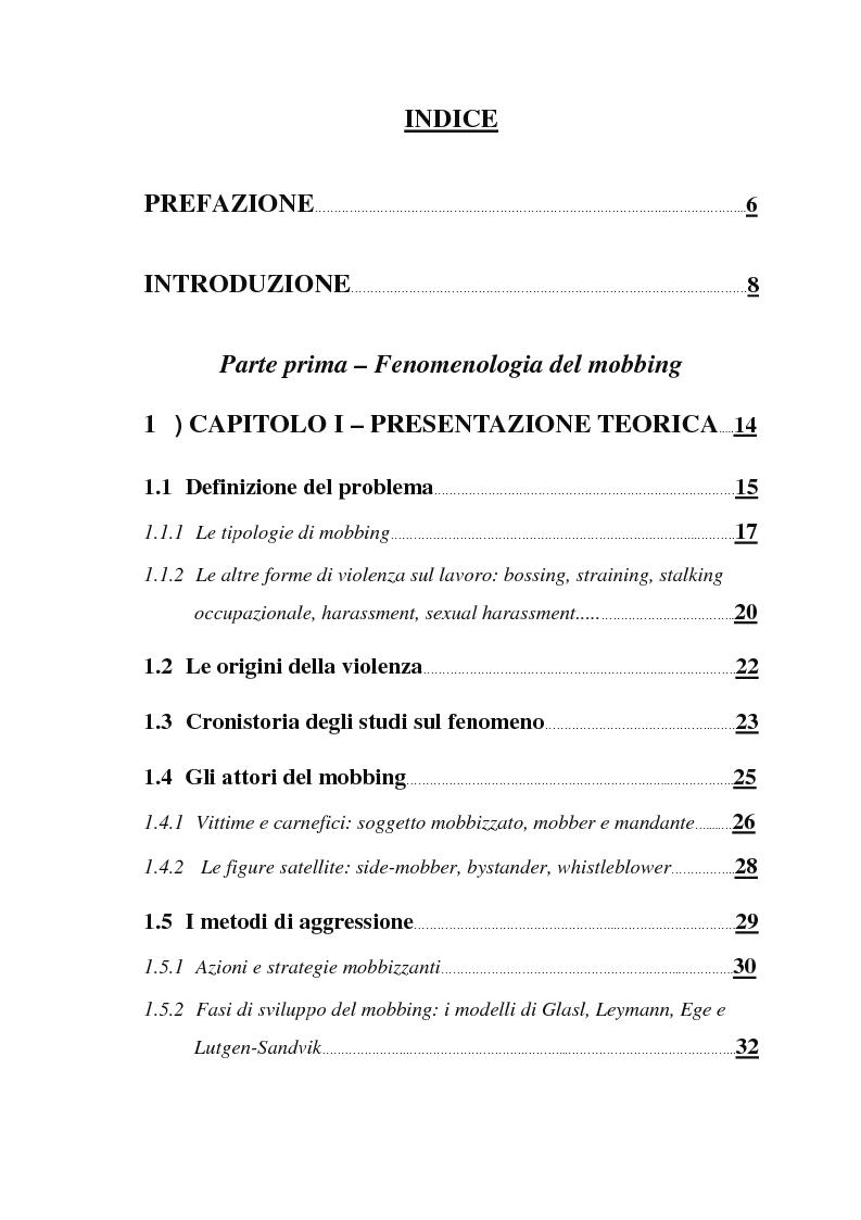 Indice della tesi: Il mobbing nella Pubblica Amministrazione: un'indagine esplorativa all'interno di un Ente Locale, Pagina 1