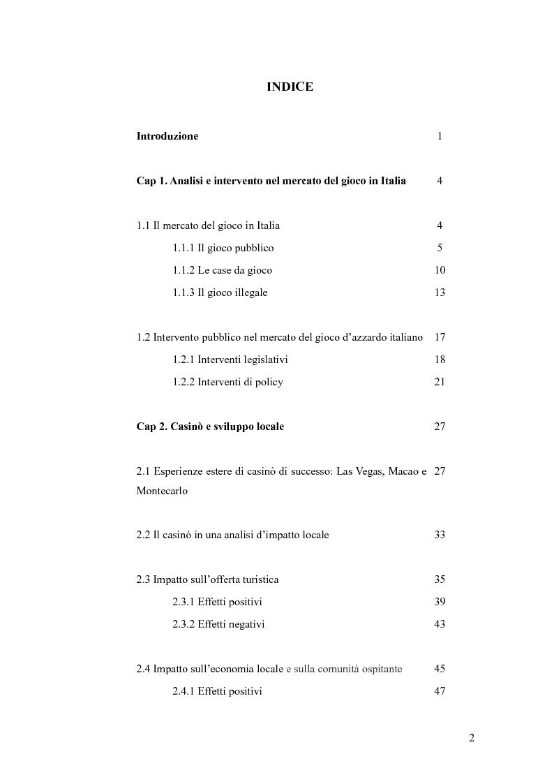 Indice della tesi: L'impatto economico dei casinò nelle destinazioni turistiche italiane, Pagina 1