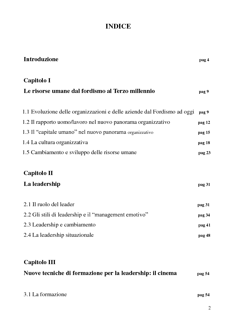 Indice della tesi: Cinema e leadership, Pagina 1
