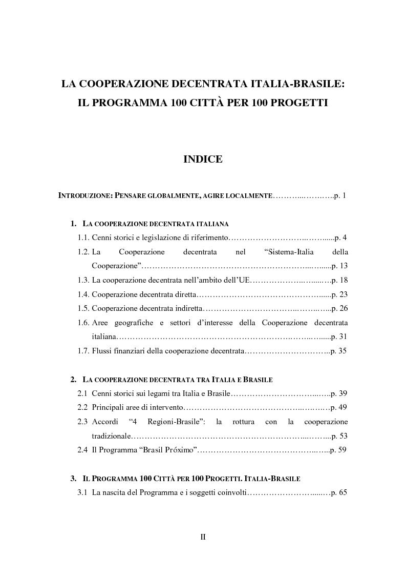 Indice della tesi: La cooperazione decentrata tra Italia e Brasile. Il programma 100 città per 100 progetti, Pagina 1