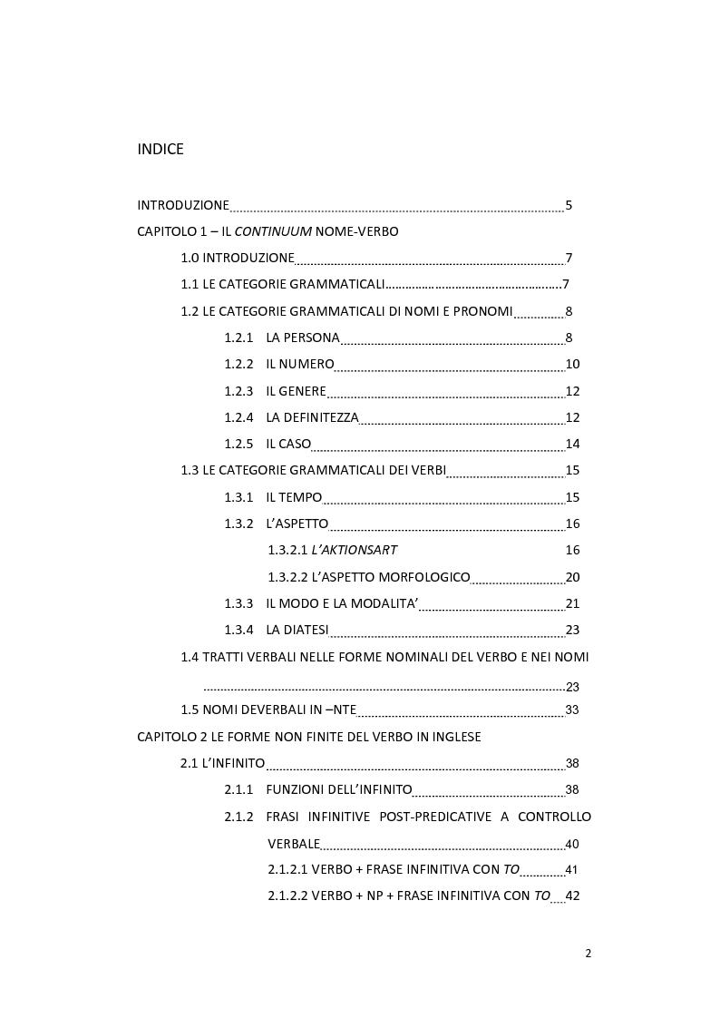 Indice della tesi: Le forme non finite del verbo in inglese: aspetti sintattici, semantici e pragmatici, Pagina 1